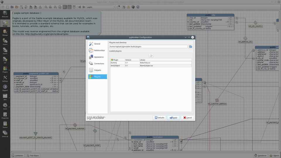 Pgmodeler postgresql database modeler check details of all loaded plug ins ccuart Images